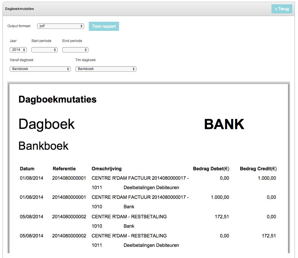 Dagboekmutaties Bankboek