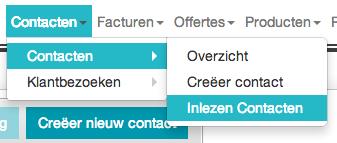 Menu-optie Contacten – Inlezen Contacten